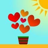 Κάρτα απεικόνισης της ημέρας του βαλεντίνου με τις καρδιές εγγράφου Πρόσθετη μορφή EPS 8 Στοκ Εικόνα