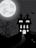 Κάρτα αποκριών με το κάστρο, την κολοκύθα, τα ρόπαλα και το φεγγάρι Στοκ Φωτογραφίες