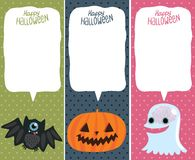 Κάρτα αποκριών που τίθεται με την κολοκύθα, ρόπαλο, φάντασμα. Στοκ Φωτογραφία