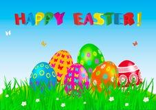 Κάρτα αυγών Πάσχας με τα ζωηρόχρωμα αυγά. Στοκ Φωτογραφίες