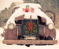 Κάρτα αυτοκινήτων Χριστουγέννων Στοκ Φωτογραφία
