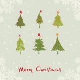 Κάρτα -- αφηρημένα χριστουγεννιάτικα δέντρα Στοκ Φωτογραφίες