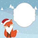 Κάρτα αλεπούδων Χριστουγέννων Στοκ εικόνες με δικαίωμα ελεύθερης χρήσης