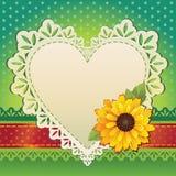 Κάρτα βαλεντίνων πλαισίων καρδιών Στοκ Εικόνες