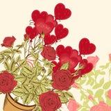 Κάρτα βαλεντίνου με τα τριαντάφυλλα και τα μπαλόνια Στοκ φωτογραφία με δικαίωμα ελεύθερης χρήσης