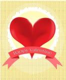 Κάρτα βαλεντίνων με την κόκκινη καρδιά Στοκ Εικόνες