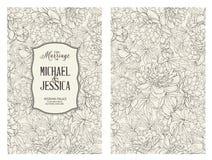 Κάρτα γάμου με τα λουλούδια Στοκ Εικόνες