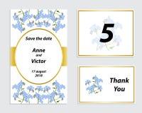 Κάρτα γαμήλιας πρόσκλησης με ένα ρομαντικό λεπτό λουλούδι ελεύθερη απεικόνιση δικαιώματος