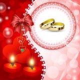 Κάρτα γαμήλιας πρόσκλησης με τα δαχτυλίδια Στοκ εικόνα με δικαίωμα ελεύθερης χρήσης