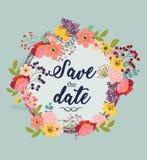 Κάρτα γαμήλιας πρόσκλησης με τα λουλούδια διανυσματική απεικόνιση