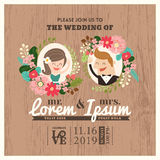 Κάρτα γαμήλιας πρόσκλησης με τα χαριτωμένα κινούμενα σχέδια νεόνυμφων και νυφών Στοκ εικόνες με δικαίωμα ελεύθερης χρήσης