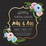 Κάρτα γαμήλιας πρόσκλησης με τα χρωματισμένα λουλούδια Στοκ εικόνα με δικαίωμα ελεύθερης χρήσης