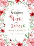 Κάρτα γαμήλιας πρόσκλησης λουλουδιών Στοκ Εικόνες