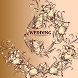 Κάρτα γαμήλιας πρόσκλησης στο εκλεκτής ποιότητας ύφος Στοκ εικόνα με δικαίωμα ελεύθερης χρήσης
