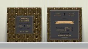 Κάρτα γαμήλιας πρόσκλησης του Art Deco χρυσός και σκούρο γκρι Στοκ Φωτογραφίες