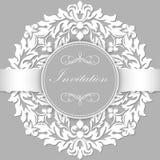 Κάρτα γαμήλιων πρόσκλησης και ανακοίνωσης με τη διακοσμητική στρογγυλή δαντέλλα με τα στοιχεία arabesque Ύφος Mehndi Ελεύθερη απεικόνιση δικαιώματος