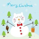 Κάρτα γατών χιονιού Στοκ Εικόνες