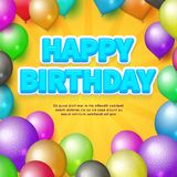 κάρτα γενεθλίων ευτυχής Διανυσματικά μπαλόνια και γενέθλια απεικόνιση αποθεμάτων