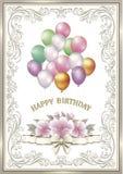 Κάρτα γενεθλίων με λουλούδια και μπαλόνια Στοκ Εικόνες