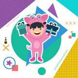 Κάρτα γενεθλίων με τα παιδιά στο ζωικό κοστούμι Στοκ φωτογραφία με δικαίωμα ελεύθερης χρήσης