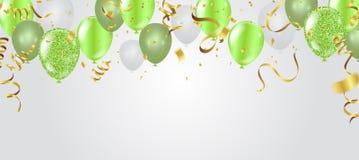 Κάρτα γενεθλίων με τα πράσινα μπαλόνια γενέθλια ευτυχή ελεύθερη απεικόνιση δικαιώματος