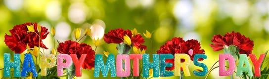 κάρτα γενεθλίων με την εικόνα ημέρας μητέρων \ «s της χλόης στενό σε επάνω κήπων Στοκ εικόνες με δικαίωμα ελεύθερης χρήσης