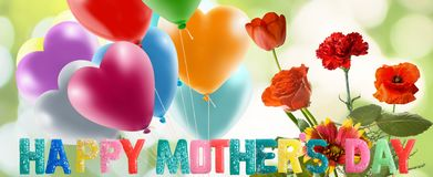 κάρτα γενεθλίων με την εικόνα ημέρας της μητέρας της χλόης στενό σε επάνω κήπων Στοκ Εικόνα
