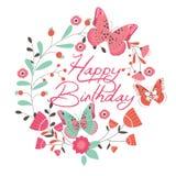 Κάρτα γενεθλίων με την όμορφα πεταλούδα και τα λουλούδια Στοκ Εικόνες