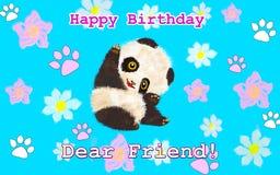 Κάρτα γενεθλίων με το ζωικό panda στοκ εικόνα