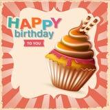 Κάρτα γενεθλίων με το cupcake και το κείμενο Στοκ φωτογραφία με δικαίωμα ελεύθερης χρήσης