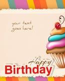 Κάρτα γενεθλίων με το cupcake και το κείμενο Στοκ Φωτογραφία