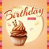 Κάρτα γενεθλίων με το cupcake και το κείμενο Στοκ Φωτογραφίες