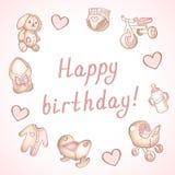 Κάρτα γενεθλίων μωρών, κάρτα ντους, αφίσα, πρότυπο Χαριτωμένες διανυσματικές απεικονίσεις Σύνολο παιχνιδιών, σίτισης και προσοχής απεικόνιση αποθεμάτων