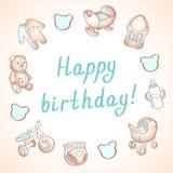 Κάρτα γενεθλίων μωρών, κάρτα ντους, αφίσα, πρότυπο Χαριτωμένες διανυσματικές απεικονίσεις Σύνολο παιχνιδιών, σίτισης και προσοχής διανυσματική απεικόνιση