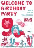 Κάρτα γενεθλίων πρόσκλησης κόμματος ελεύθερη απεικόνιση δικαιώματος