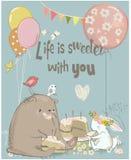 Κάρτα γενεθλίων με τη χαριτωμένους αρκούδα και τους λαγούς απεικόνιση αποθεμάτων