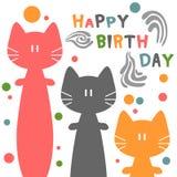 Κάρτα γενεθλίων με τις γάτες διανυσματική απεικόνιση
