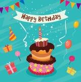 Κάρτα γενεθλίων με το κέικ Στοκ Εικόνα