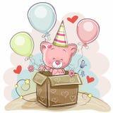 Κάρτα γενεθλίων με το χαριτωμένο γατάκι ελεύθερη απεικόνιση δικαιώματος