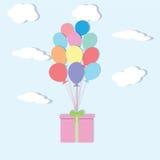 κάρτα γενεθλίων μπαλονιών Στοκ εικόνες με δικαίωμα ελεύθερης χρήσης