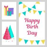 Κάρτα γενεθλίων, χαιρετισμού και πρόσκλησης με τα δώρα, καπέλο κομμάτων και Στοκ φωτογραφία με δικαίωμα ελεύθερης χρήσης