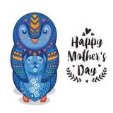 Κάρτα για την ημέρα μητέρων με τα penguins Στοκ Εικόνες