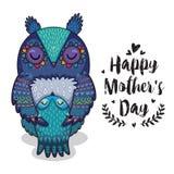 Κάρτα για την ημέρα μητέρων με τις κουκουβάγιες Στοκ Εικόνες