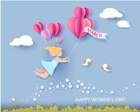 Κάρτα για την ημέρα των γυναικών την 8η Μαρτίου διανυσματική απεικόνιση