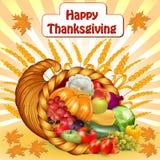 Κάρτα για την ημέρα των ευχαριστιών με ένα κέρα της Αμαλθιας των φρούτων και λαχανικών Στοκ Εικόνες