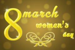 Κάρτα για την 8η Μαρτίου στους χρυσούς τόνους Στοκ Εικόνες