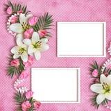 Κάρτα για τις διακοπές με τα λουλούδια Στοκ Φωτογραφία