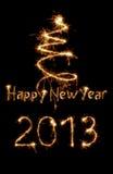 Κάρτα για το έτος 2013 που γράφεται με τα σπινθηρίσματα Στοκ Φωτογραφία