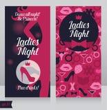 Κάρτα για το κόμμα γυναικείας νύχτας με τη σκιαγραφία του όμορφου κοριτσιού Στοκ Φωτογραφία
