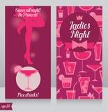 Κάρτα για το κόμμα γυναικείας νύχτας με τη σκιαγραφία του όμορφου κοριτσιού Στοκ φωτογραφίες με δικαίωμα ελεύθερης χρήσης